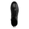 Bottines motardes en cuir avec lacets - noir