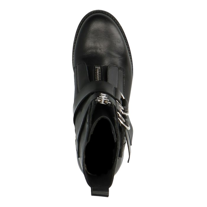 Bottines motardes en cuir avec boucles - noir
