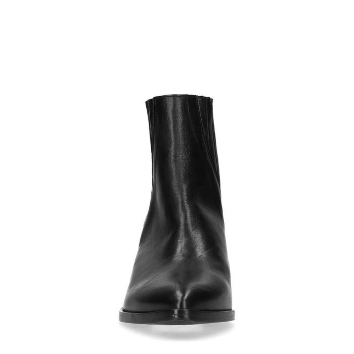 Chelsea boots en cuir à talon - noir