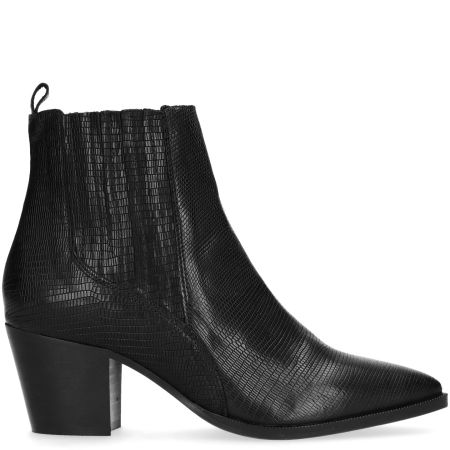 Chelsea boots en cuir avec imprimé serpent - noir