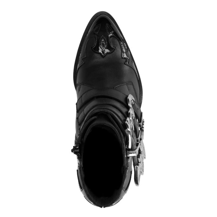Bottines cuir à boucles avec détails - noir