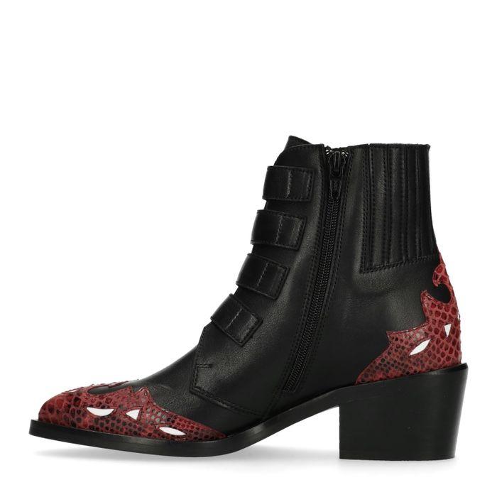 Bottines à boucles avec détails rouges - noir