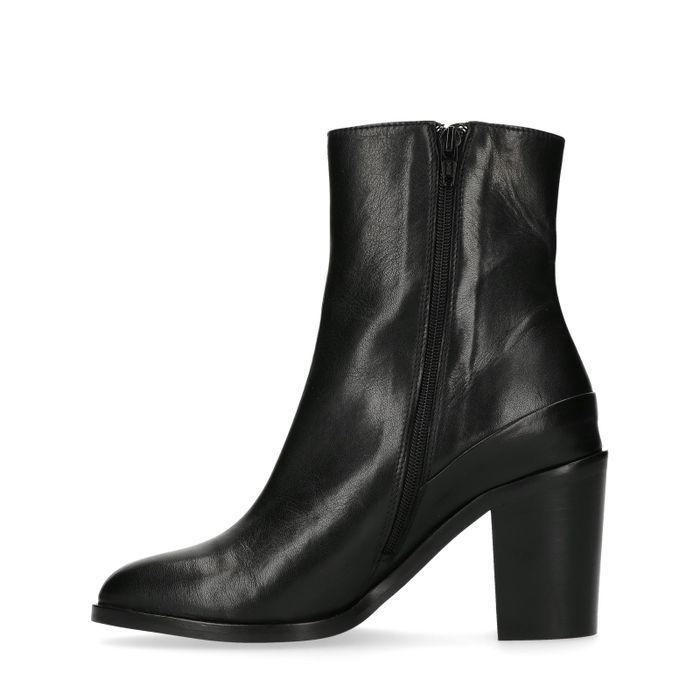 Bottes hautes en cuir avec talon - noir