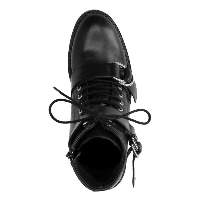 Bottines motardes en cuir basses avec boucles - noir