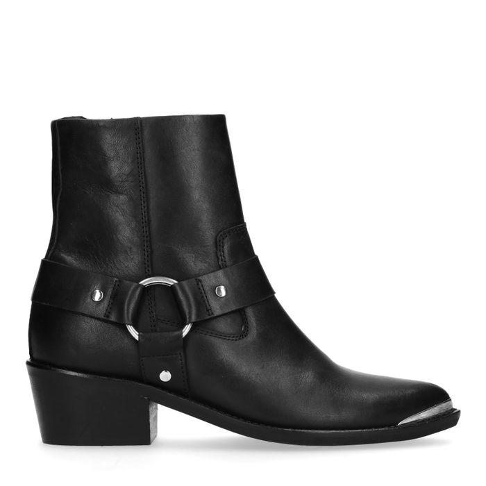 Bottines style western en cuir - noir