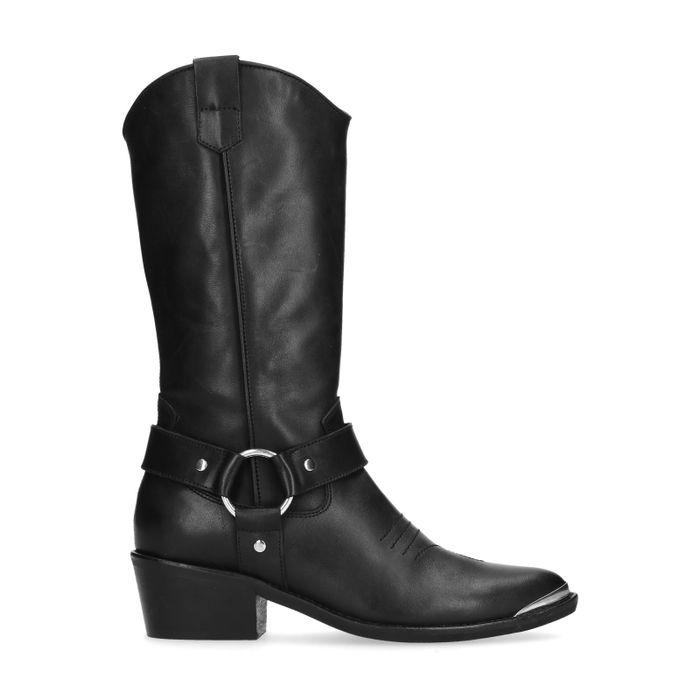 Bottes en cuir style cowboy - noir
