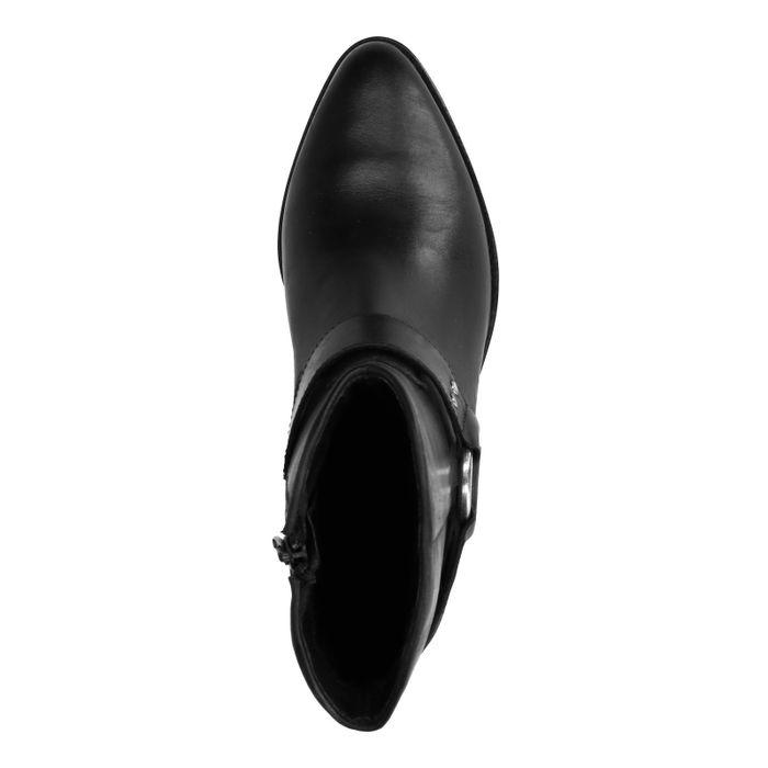 Bottines en cuir style western - noir