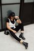 Chelsea boots en cuir avec rayures sportives Sacha x Luxblog - noir