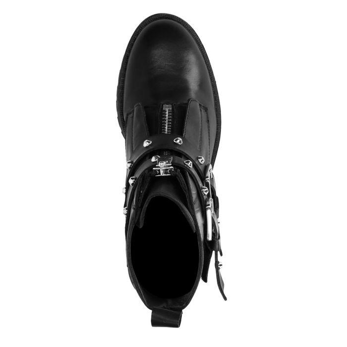 Bottines motardes en cuir avec boucles et clous - noir