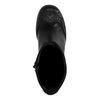 Bottes en cuir courtes à talon avec perforations - noir