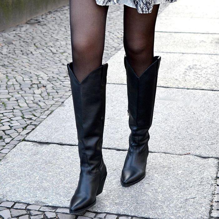 Bottes hautes style cowboy - noir