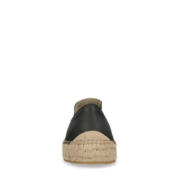 Espadrilles cuir avec semelle plateforme - noir