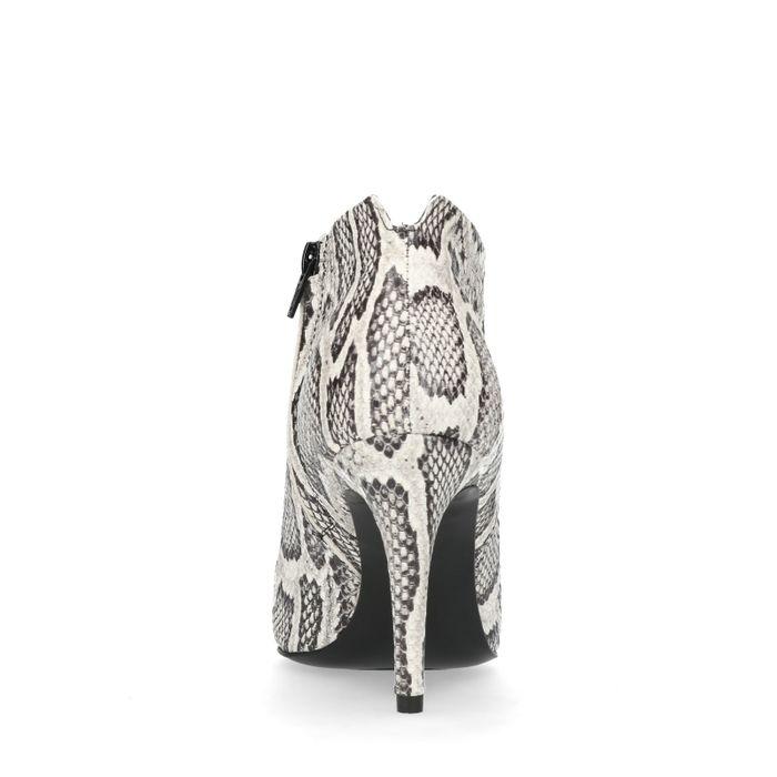 Bottines à talon avec motif peau de serpent - noir et blanc