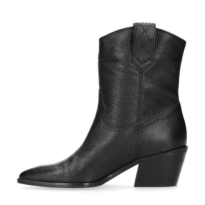 Bottines en cuir style western avec talon - noir