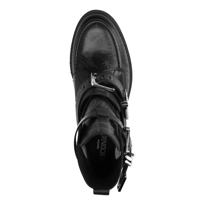 Bottines ajourées en cuir avec texte - noir