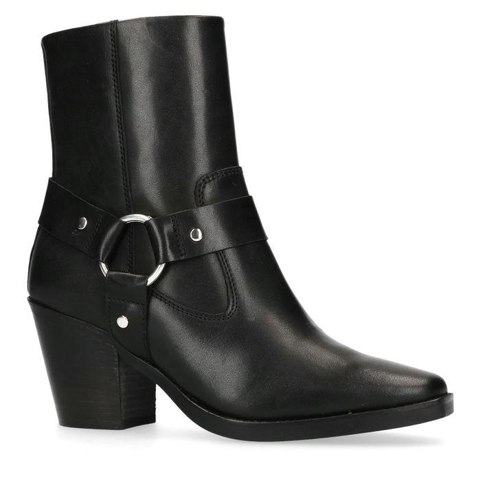 Bottines en cuir avec détail western - noir