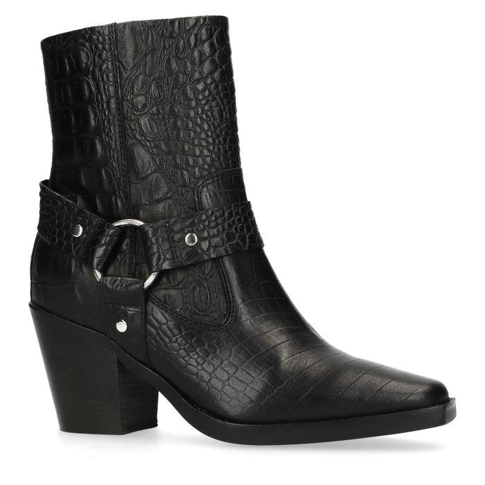 Bottines en cuir style western avec imprimé crocodile - noir