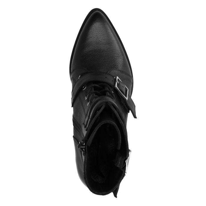 Bottines à lacets en cuir avec découpes - noir