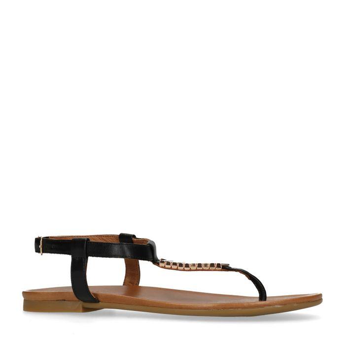 Sandales en cuir avec détails dorés - noir