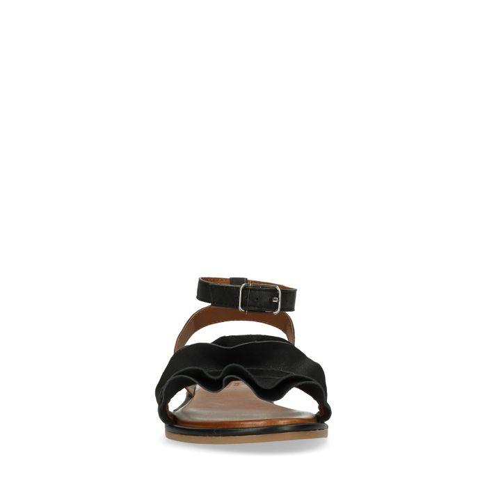 Sandales en cuir avec froufrous - noir