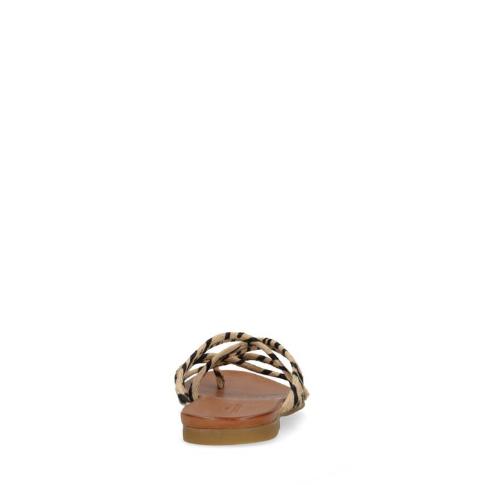 Claquettes en cuir avec imprimé - marron