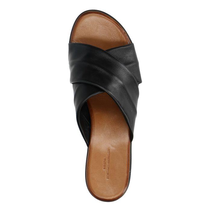 Claquettes en cuir à plateforme - noir