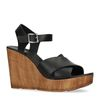 Sandales cuir avec talon compensé - noir
