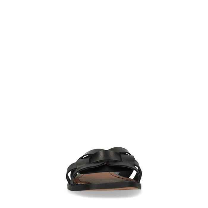 Claquettes en cuir avec brides - noir