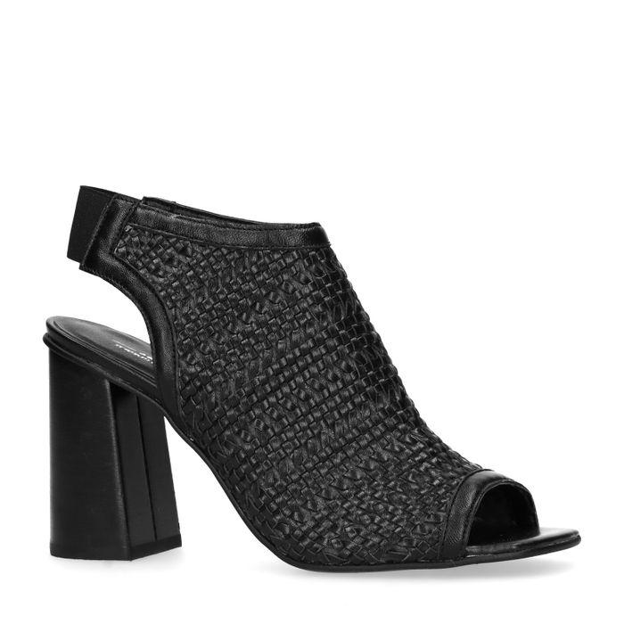 Sandales cuir avec talon cubain et bout ouvert - noir