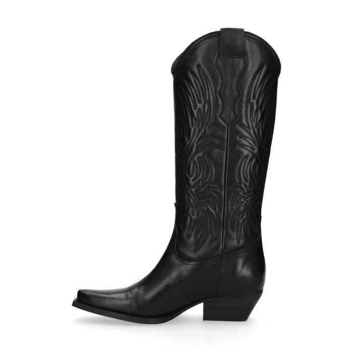 Bottes style cowboy en cuir - noir