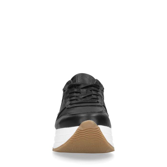 Baskets cuir à plateforme - noir