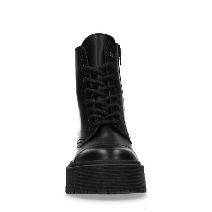 Bottines motardes en cuir avec semelle plateforme - noir