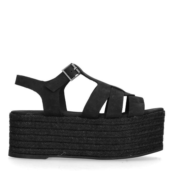 style de mode magasin en ligne haut de gamme authentique Sacha Sandales cuir à plateforme - noir