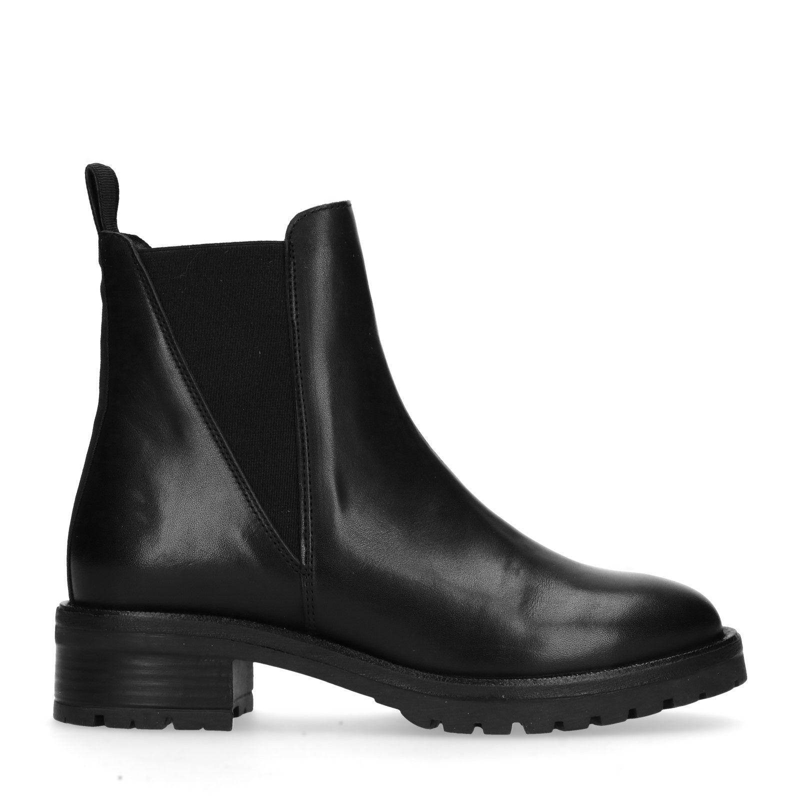 Sacha Chelsea En Cuir Noir Boots Kul1J3TFc