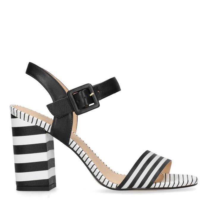Sandales cuir à talon avec imprimé - noir