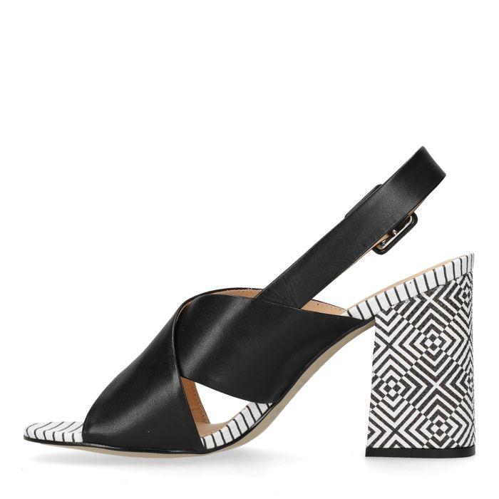 Sandales cuir à talon avec imprimé
