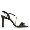 Sandales cuir à talon aiguille avec imprimé serpent - noir