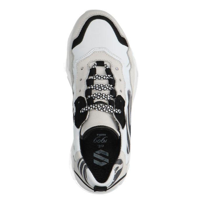 Dad shoes en cuir avec imprimé zèbre - blanc