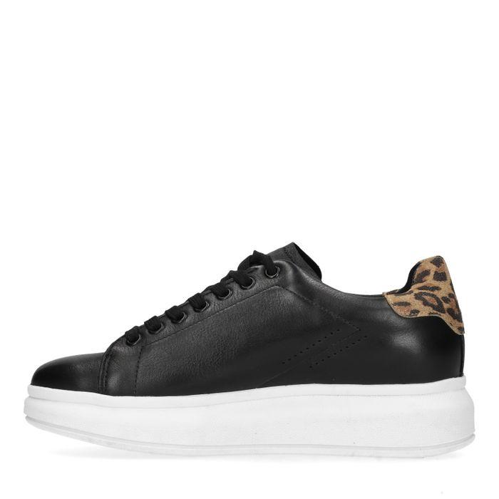 Baskets cuir à plateforme avec détail imprimé léopard - noir