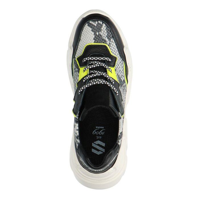 Dad shoes en cuir avec imprimé serpent et couleur fluo - noir