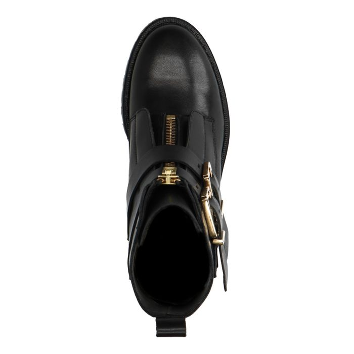 Bottines motardes en cuir avec deux boucles - noir