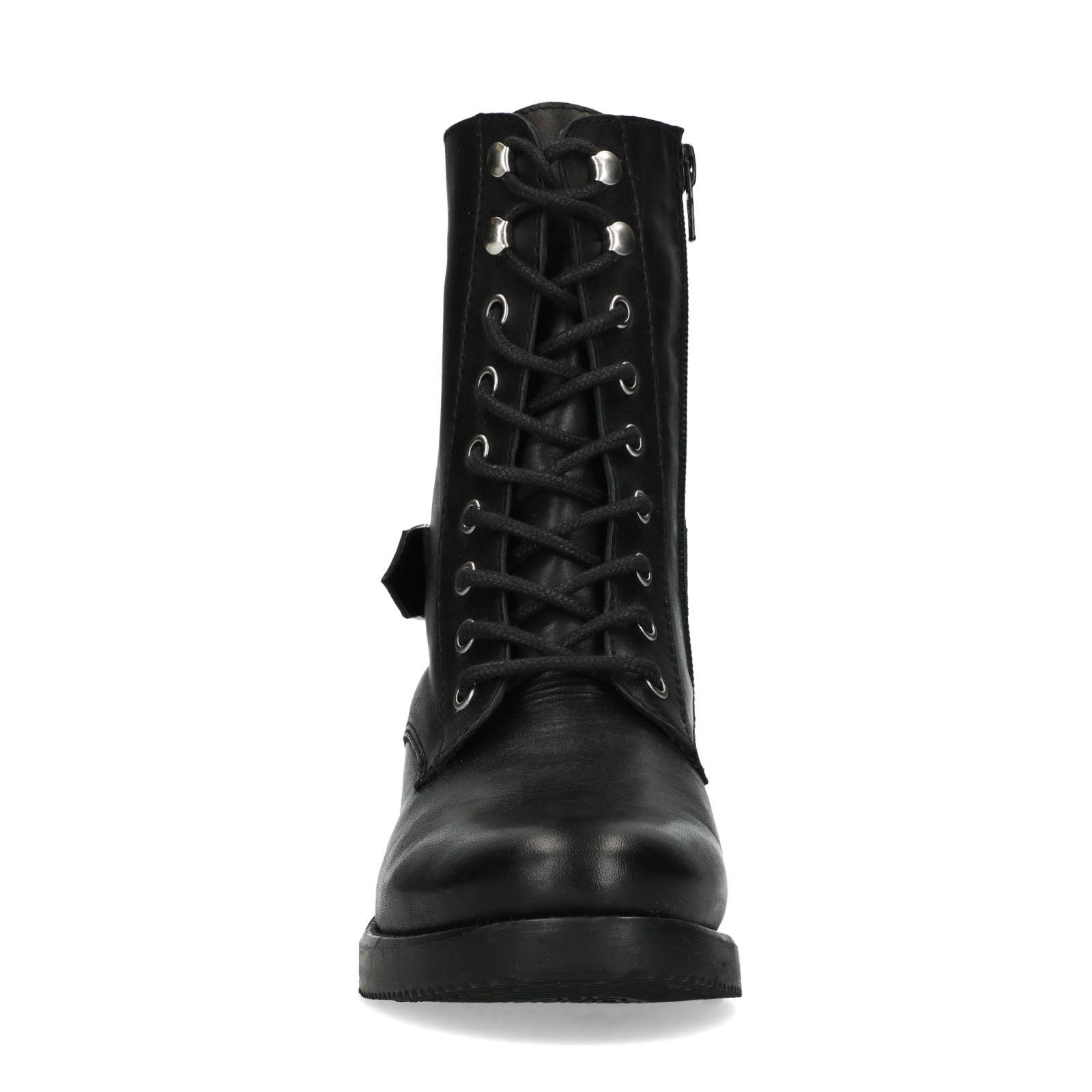 bottines lacées en cuir noir femme