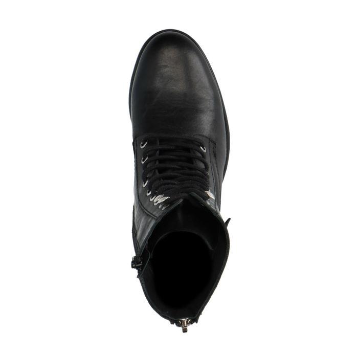Bottines à lacets en cuir avec boucle - noir