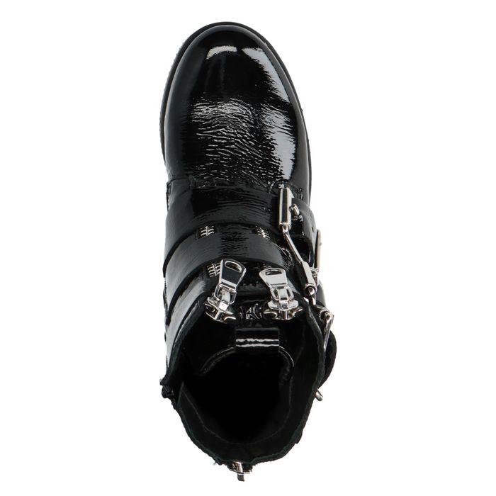 Bottines motardes en cuir avec boucles et fermetures éclair - noir