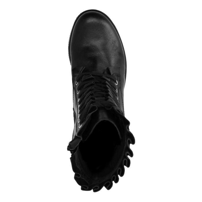 Bottines motardes en cuir avec froufrous et lacets - noir