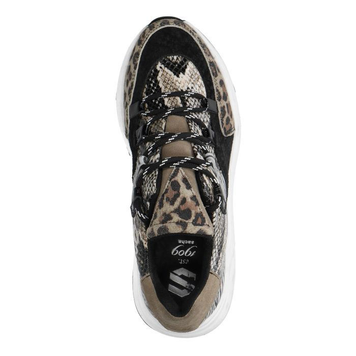 Dad shoes en cuir avec imprimé animal - noir