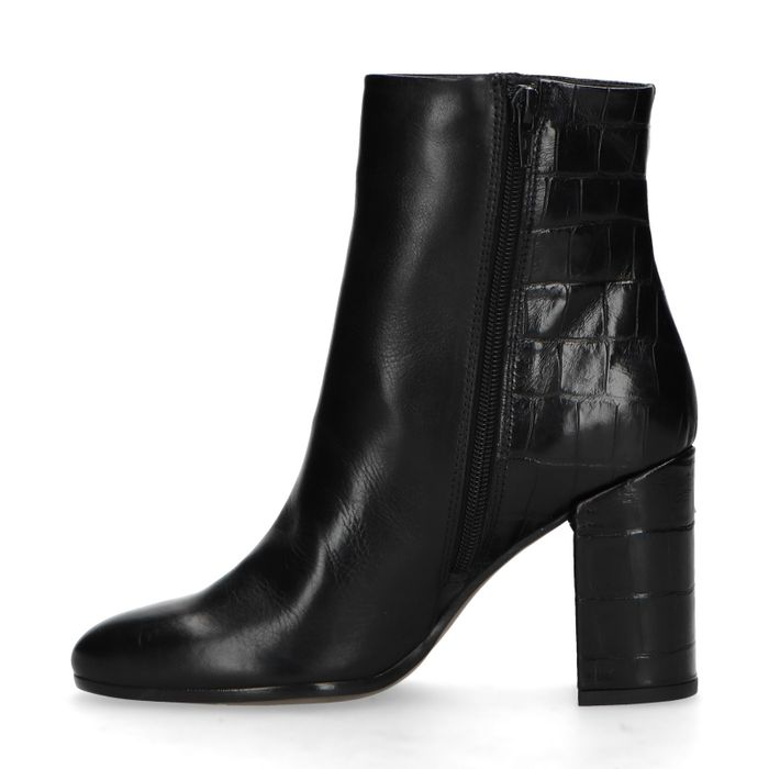 Bottines en cuir à talon - noir