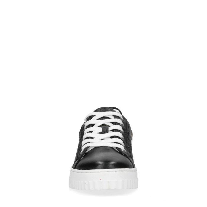 Baskets cuir à plateforme avec détail léopard - noir
