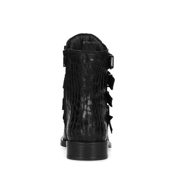 Bottines motardes cuir avec boucles - noir