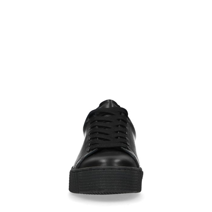 Baskets cuir à plateforme avec imprimé léopard - noir